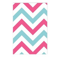 Chevron pink blue Postcards (Package of 8)
