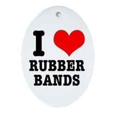 I Heart (Love) Rubber Bands Oval Ornament