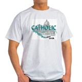 Catholic and Christian (Teal) Ash Grey T-Shirt