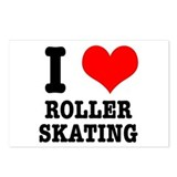 I Heart (Love) Roller Skating Postcards (Package o