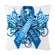 I Wear Blue for Myself Woven Throw Pillow