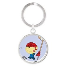 Hockey Kid Round Keychain