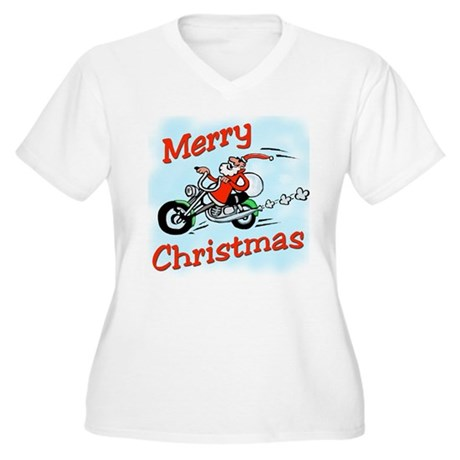 Motorcycle Santa Women's Plus Size V-Neck T-Shirt