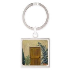 StephanieAM Wood Door Square Keychain