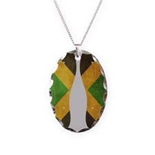 Jamaica Flag Flip Flops Necklace Oval Charm
