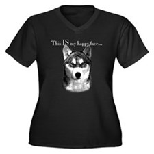 Husky Happy Face Women's Plus Size V-Neck Dark T-S