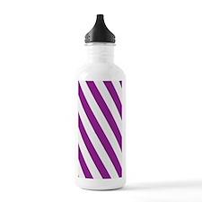 Purple Diagonal Stripe Water Bottle