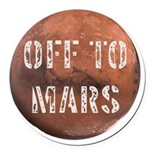 Off To Mars Round Car Magnet