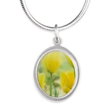 Spring Tulips Silver Oval Necklace
