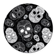 White Sugar Skulls Round Car Magnet