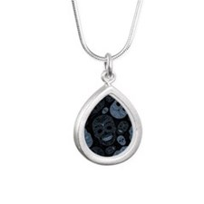 Blue Sugar Skulls Silver Teardrop Necklace
