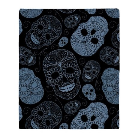 Blue Sugar Skulls Throw Blanket
