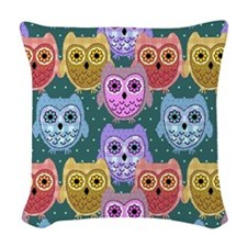 country owls Woven Throw Pillow