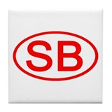 SB Oval (Red) Tile Coaster