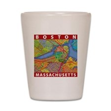 Boston Massachusetts Map Shot Glass