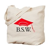 Red BSW Grad Cap Tote Bag