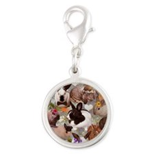 Happy Bunnies Silver Round Charm