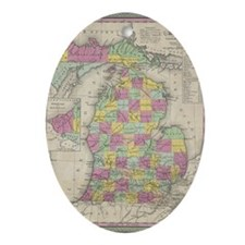 Vintage Map of Michgan  Oval Ornament
