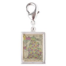Vintage Map of Michgan  Silver Portrait Charm