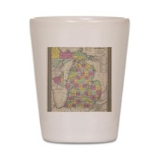 Vintage Map of Michgan  Shot Glass