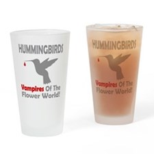 Hummingbirds Vampires Drinking Glass