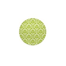 Spring Green Damask Mini Button