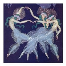 "Art Nouveau Ballerinas Square Car Magnet 3"" x 3"""