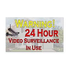 Warning - Video Surveillance Rectangle Car Magnet