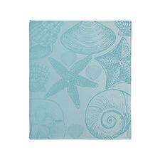 Aqua shells Throw Blanket