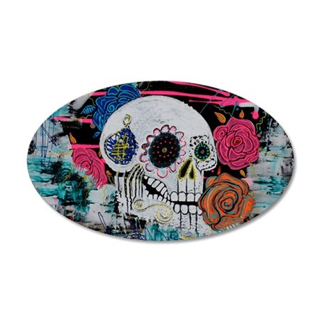 Sugar Skull and Roses 35x21 Oval Wall Decal