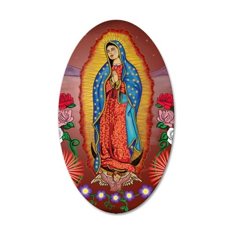 Virgin of Guadalupe 35x21 Oval Wall Decal