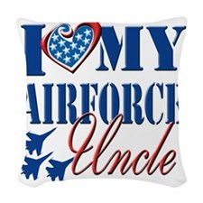 I Love My Airforce Uncle Woven Throw Pillow