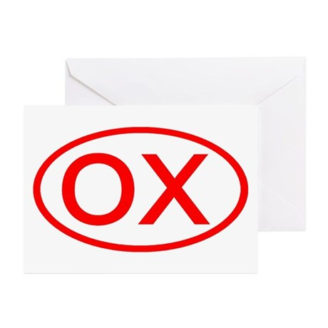 OX Oval (Red) Greeting Cards (Pk of 10)