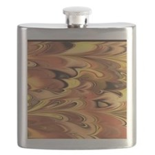 Rust and Gold Marbled Rainbow Swirl Flask