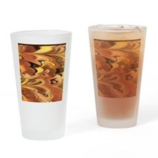 Rust and Gold Marbled Rainbow Swirl Drinking Glass