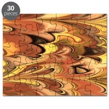 Rust and Gold Marbled Rainbow Swirl Puzzle