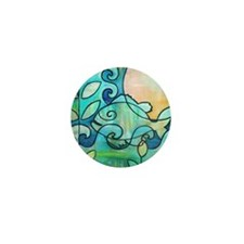 Sunny Fish Underwater Blue by Melanie  Mini Button
