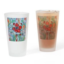 The Red Poppy Floral Art by Melanie Drinking Glass