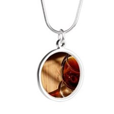 glass of port Silver Round Necklace