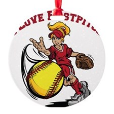 red, Love Fastpitch Ornament