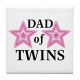 Dad of Twins (Girls) Tile Coaster