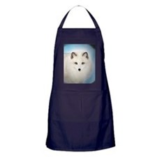 Arctic Fox with Blue Background Apron (dark)