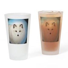 Arctic Fox with Blue Background Drinking Glass