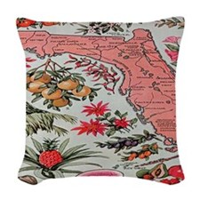 Vintage Florida Fruit Flower M Woven Throw Pillow