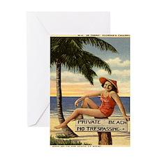Vintage Private Beach Postcard Greeting Card