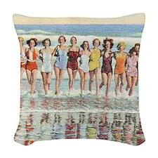 Vintage Women Running Beach Se Woven Throw Pillow