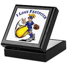 blue, Love Fastpitch Keepsake Box