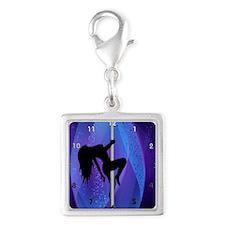Stripper Girl - Purple Clock Silver Square Charm