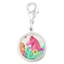 Curly Mares in Wildflowers Silver Round Charm