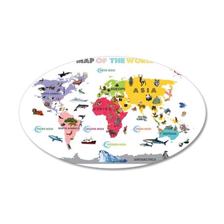 Interactive World Map For Ki 35x21 Oval Wall Decal